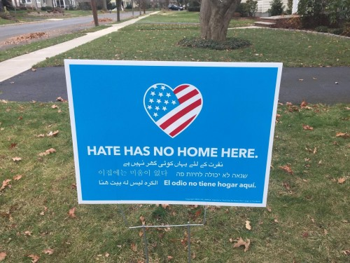 "Hate Has No Home Here - 24"" x 18"" Waterproof Yard Sign & Stake - Bulk Orders - Free Shipping"